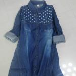 P00241 เสื้อเชิ้ตแขนยาว ผ้ายีนส์เนื้อดี สีน้ำเงินเข้ม กระดุมหน้า