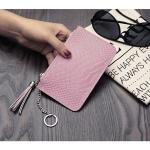 B0011 กระเป๋าคลัทช์ซิบบน หนัง PU สีชมพู ภายในมีช่องใส่บัตร