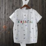 P77631 เสื้อแฟชั่น ผ้าฝ้ายพิมพ์ลาย สีขาว หน้าอกปักตุ๊กตา