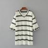 P89361 เสื้อตัวยาว ผ้าไหมพรมยืดหยุ่นลายริ้ว สีขาวริ้วดำ