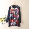 P8731 เสื้อตัวยาว ผ้ายืดเนื้อดีพิมพ์ลายหน้าสั้นหลังยาว แต่งซิบชายข้าง สีดำ
