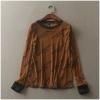 P9447 เสื้อแขนยาว ผ้ายืดเนื้อไม่หนาพิมพ์ลายอักษร สีน้ำตาลเข้ม