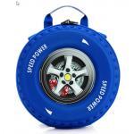 กระเป๋าเป้รูปล้อรถ กระเป๋าสะพายเด็ก กระเป๋าเป้เด็กสีน้ำเงิน