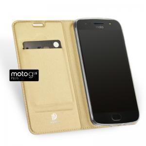 เคส Moto G5s Plus เคสฝาพับเกรดพรีเมี่ยม เย็บขอบ พับเป็นขาตั้งได้ สีทอง