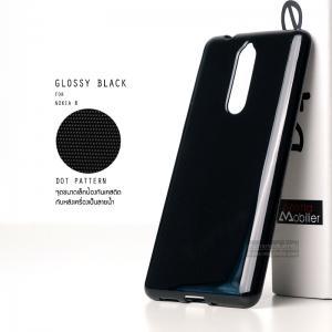 เคส Nokia 8 เคสนิ่มผิวเงา GLOSSY BLACK พร้อมจุดขนาดเล็กป้องกันเคสติดกับตัวเครื่อง สีดำทึบ