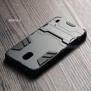เคส Nokia 2 เคสขอบกันกระแทก Defender (พร้อมขาตั้ง) สีดำ-ดำ