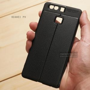 เคส Huawei P9 เคสนิ่ม Hybrid เกรดพรีเมี่ยม ลายหนัง (ขอบนูนกันกล้อง) แบบที่ 2 (มีเส้นตรงกลาง)