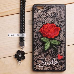 เคส Huawei P8 Lite เคสอะครีลิค ขอบยางสีดำ ลายดอกกุหลาบ (พร้อมสายคล้องโทรศัพท์) พื้นหลังสีดำ