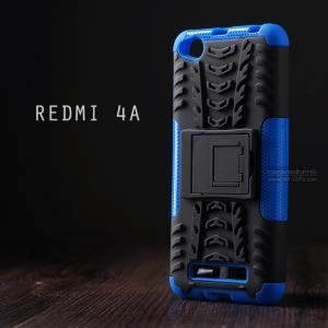 เคส Xiaomi Redmi 4A เคสบั๊มเปอร์ กันกระแทก Defender (พร้อมขาตั้ง) สีน้ำเงิน