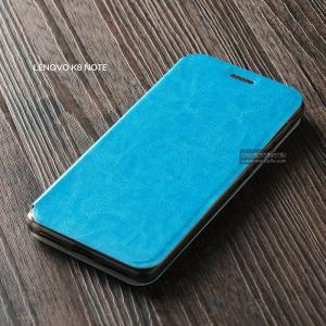 เคส Lenovo K8 Note เคสฝาพับบางพิเศษ พร้อมแผ่นเหล็กป้องกันของมีคม พับเป็นขาตั้งได้ สีฟ้า