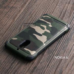 เคส Nokia 6 กรอบบั๊มเปอร์ กันกระแทก Defender ลายทหาร (Camouflage Series) สีเขียว