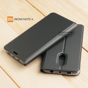 เคส Xiaomi Redmi Note 4 เคสฝาพับเกรดพรีเมี่ยม เย็บขอบ พับเป็นขาตั้งได้ สีเทา (Dux Ducis)