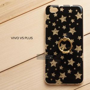 เคส Vivo V5 Plus เคสแข็งความยืดหยุ่นสูง พร้อมแหวนมือถือ สีดำลายดาวสีทอง