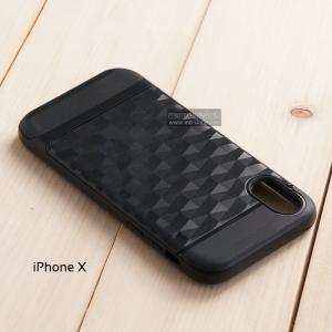 เคส iPhone X เคสนิ่มกันกระแทก พิมพ์นูน (ลายสามเหลี่ยมกราฟฟิค) สีดำ - ดำ