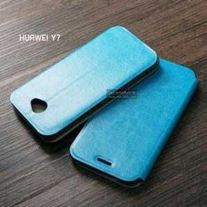 เคส Huawei Y7 เคสฝาพับบางพิเศษ พร้อมแผ่นเหล็กป้องกันของมีคม พับเป็นขาตั้งได้ สีฟ้า