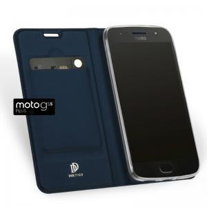 เคส Moto G5s Plus เคสฝาพับเกรดพรีเมี่ยม เย็บขอบ พับเป็นขาตั้งได้ สีน้ำเงิน