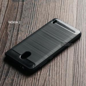 เคส Nokia 2 เคสนิ่มเกรดพรีเมี่ยม (Texture ลายโลหะขัด) กันลื่น ลดรอยนิ้วมือ สีดำ