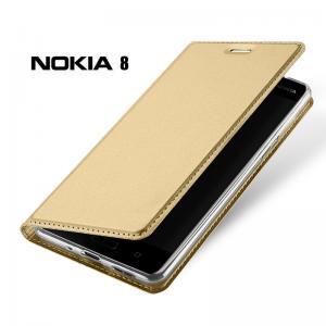 เคส Nokia 8 เคสฝาพับเกรดพรีเมี่ยม เย็บขอบ พับเป็นขาตั้งได้ สีทอง