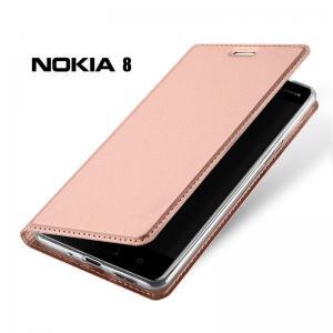 เคส Nokia 8 เคสฝาพับเกรดพรีเมี่ยม เย็บขอบ พับเป็นขาตั้งได้ สีโรสโกลด์