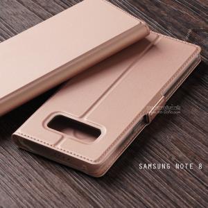 เคส Samsung Galaxy Note 8 เคสฝาพับเกรดพรีเมี่ยม เย็บขอบ พับเป็นขาตั้งได้ สีโรสโกลด์ (มีตัวล๊อคแม่เหล็ก) แบบที่ 2