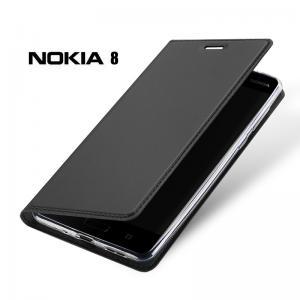 เคส Nokia 8 เคสฝาพับเกรดพรีเมี่ยม เย็บขอบ พับเป็นขาตั้งได้ สีเทา