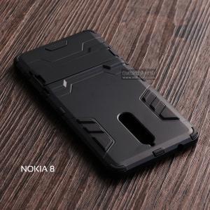 เคส Nokia 8 เคสขอบกันกระแทก Defender (พร้อมขาตั้ง) สีดำ - ดำ