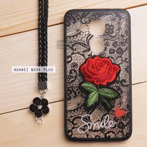 เคส Huawei Nova Plus เคสอะครีลิค ขอบยางสีดำ ลายดอกกุหลาบ (พร้อมสายคล้องโทรศัพท์) พื้นหลังสีดำ
