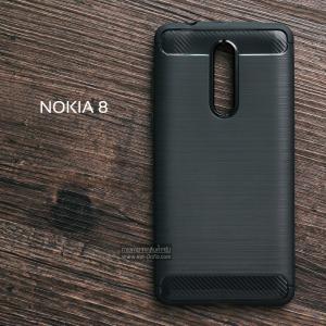 (บังไมค์เสริมตรงกล้องหลัง)เคส Nokia 8 เคสนิ่มเกรดพรีเมี่ยม (Texture ลายโลหะขัด) กันลื่น ลดรอยนิ้วมือ สีดำ