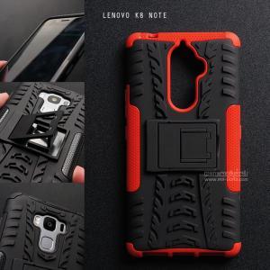เคส Lenovo K8 Note เคสบั๊มเปอร์ กันกระแทก Defender (พร้อมขาตั้ง) สีแดง