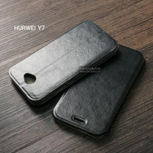 เคส Huawei Y7 เคสฝาพับบางพิเศษ พร้อมแผ่นเหล็กป้องกันของมีคม พับเป็นขาตั้งได้ สีดำ