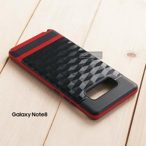 เคส Samsung Galaxy Note 8 เคสนิ่มกันกระแทก พิมพ์นูน (ลายสามเหลี่ยมกราฟฟิค) สีดำ - แดง