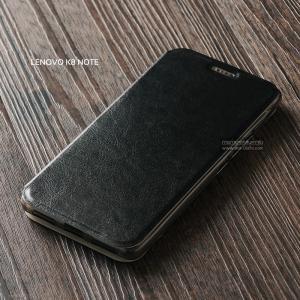 เคส Lenovo K8 Note เคสฝาพับบางพิเศษ พร้อมแผ่นเหล็กป้องกันของมีคม พับเป็นขาตั้งได้ สีดำ
