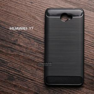 เคส Huawei Y7 เคสนิ่มเกรดพรีเมี่ยม (Texture ลายโลหะขัด) กันลื่น ลดรอยนิ้วมือ สีดำ