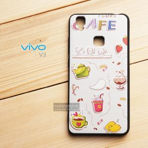 เคส Vivo V3 เคสนิ่ม TPU พิมพ์ลาย (ขอบดำ) ลายที่ 6 I love Cafe