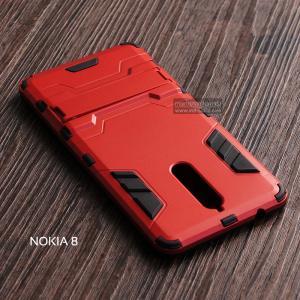 เคส Nokia 8 เคสขอบกันกระแทก Defender (พร้อมขาตั้ง) สีดำ - แดง