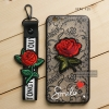 เคส OPPO F1s เคสอะครีลิค ขอบยางสีดำ ลายดอกกุหลาบ (พร้อมสายคล้องโทรศัพท์) พื้นหลังสีดำ