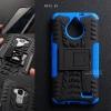 เคส Moto E4 เคสบั๊มเปอร์ กันกระแทก Defender (พร้อมขาตั้ง) สีน้ำเงิน