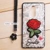 เคส Huawei GR5 2017 เคสอะครีลิค ขอบยางสีดำ ลายดอกกุหลาบ (พร้อมสายคล้องโทรศัพท์) พื้นหลังสีขาว