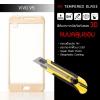 (*ใช้ได้เฉพาะรุ่น Vivo V5 และ V5s) (มีกรอบ 3D แบบคลุมขอบ) ฟิล์มกระจกนิรภัย-กันรอย ( Vivo V5 )Tempered Glass 9H ขอบมน 2.5D สีทอง
