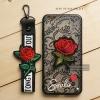 เคส Vivo V5 / V5s / V5 Lite เคสอะครีลิค ขอบยางสีดำ ลายดอกกุหลาบ (พร้อมสายคล้องโทรศัพท์) พื้นหลังสีดำ