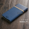 เคส Samsung Galaxy J7 Plus เคสฝาพับหนัง PVC มีช่องใส่บัตร สีน้ำเงิน