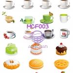 MCF003 กระดาษแนพกิ้น 21x30ซม. ลายแก้วกาแฟและขนม