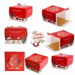 BOX CAKE CHIRSMAS - กล่อง พื้นแดง มีหูหิ้ว / 10 นิ้ว