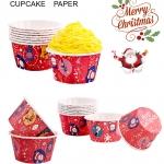 ถ้วยคัพเค้ก Merry Christmas พื้นสีแดง CUPCAKE (1*50)