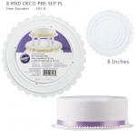 8 RND DECO PRE SEP PL (Wilton 302-8) /แผ่นพลาสติก รองเค้กกลมขอบหยัก ขนาด 8 นิ้ว