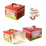 BOX CAKE LEISURE TIME กล่องเค้กซานต้า Leisure Time มีหูหิ้ว 4.5 นิ้ว