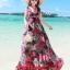MAXI DRESS ชุดเดรสยาว พร้อมส่ง พื้นสีดำ ผ้าชีฟอง ลายดอกไม้สีโทนแดงทั้งชุด คอวี จั้มช่วงหน้าอก ชายกระโปรงมีสองชั้น สวย thumbnail 1