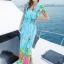 maxi dress ชุดเดรสยาว พร้อมส่ง สีฟ้า คอวีลึก ลายดอกไม้สีสัน สม๊อคช่วงเอว สวยมากๆค่ะ ใส่สบาย thumbnail 1