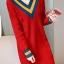 เสื้อกันหนาวไหมพรม พร้อมส่ง สีแดง คอเสื้อวี สลับสีเก๋ แขนยาว ถักลายลูกโซ่ด้านหน้า น่ารักๆ ใส่กันหนาวได้ค่ะ thumbnail 1