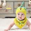 ไซส์ 0-8 เดือน หมวกเด็ก พร้อมผ้ากันกันเปื้อนสามเหลี่ยม - สีเขียว